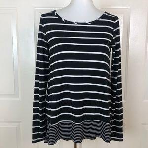 BCBGMaxazria Women's Black White Striped Top